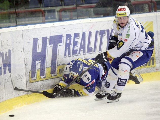 Hokejisté brněnské Komety (v bílém) porazili Zlín 2:0.