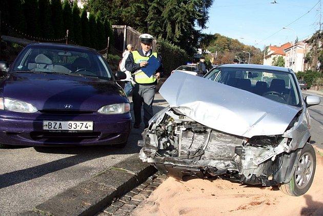 Nehoda v brněnské Údolní ulici.