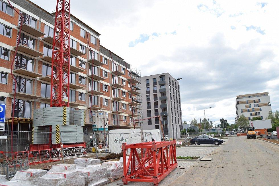 Bytová výstavba v brněnském Králově Poli, květen 2021.