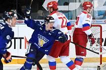 Carlson Hockey Games v brněnské DRFG aréně mezi Ruskem v bílém a Finskem