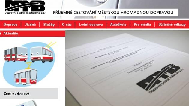 Současné webové stránky Dopravního podniku města Brna.