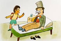 Ilustrace Aloise Mikulky, která provází pohádku Kouzelník a škola.
