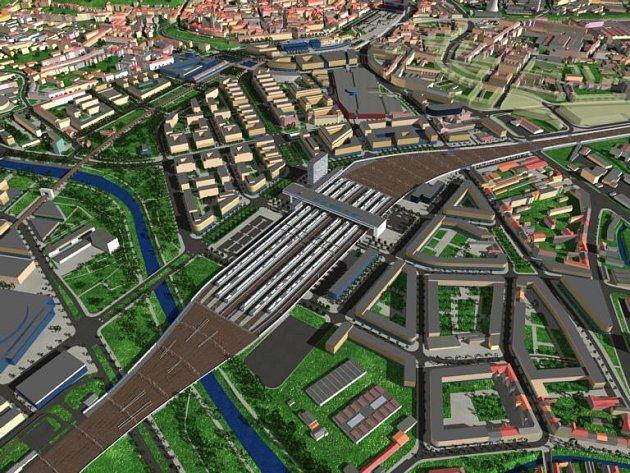 Vizualizace nového brněnského nádraží zvaného Europoint