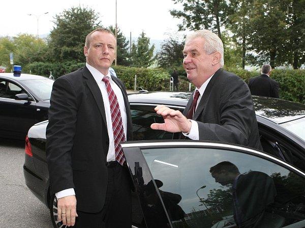 Prezident Miloš Zeman vKuřimi.