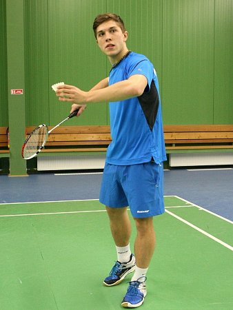 Badmintonista Sokola Veselý Jehnice Adam Mendrek.