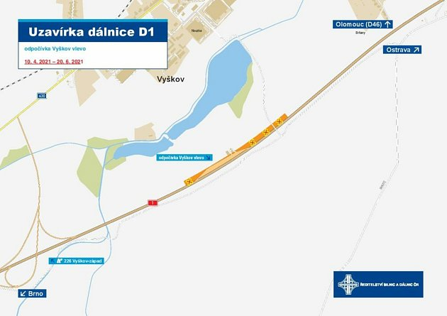 Mapa ke stavbě zdi uvyškovské odpočívky na D1.