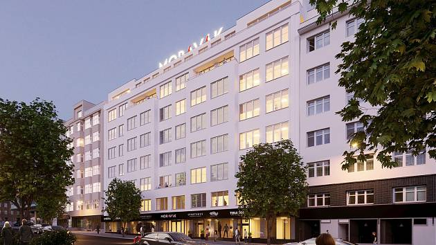 Na brněnském Moravském náměstí developer promění bývalou budovu Moravské typografie na kancelářské prostory i restauraci.