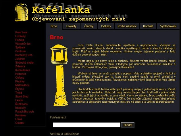 Internetová stránka www.kafelanka.cz.