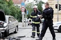 Nehoda v křižovatce brněnského Moravského náměstí a Kounicovy ulice.