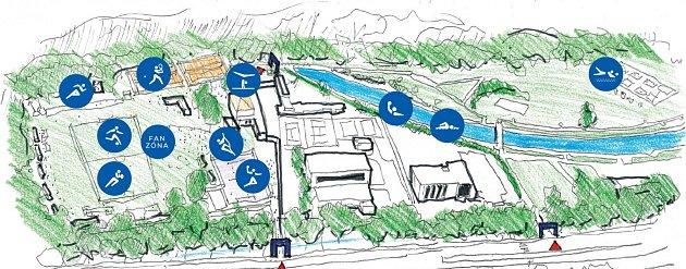 Mapa olympijského festivalu.