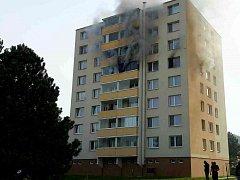Požár bytu v Kuřimi.