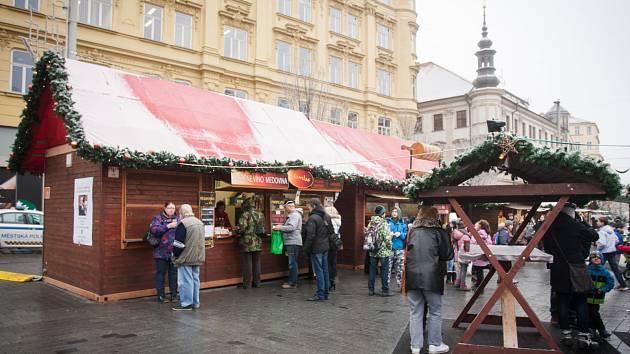 Vánoční trhy na brněnském náměstí Svobody.
