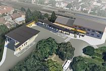 Vizualizace autobusového nádraží.