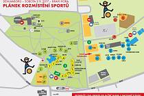 Mapka ke Dni náboru v areálu brněnské Kraví hory.