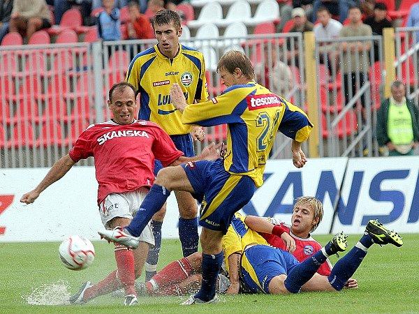 Ilustrační: Polách a Černý v dresu 1. FC Brno proti Zlínu