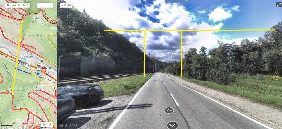 Vlevo žlutě vyznačená lokalizace lávky nad Adamovem, modře vyznačené je napojení na stávající lávku, vpravo zjednodušená vizualizace průběhu lávky nad Adamovem.