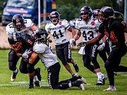 Brněnští Sígři (v černém) v první sezoně v České lize amerického fotbalu dokráčeli do play-off. V semifinále jim ale vystavili stopku hráči Prague Black Panthers, kteří po výhře 63:0 zabojují o šestý titul v řadě.