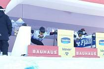 Brněnský snowboardcrossař Jan Kubičík na světovém šampionátu ve Švédsku.
