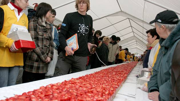 Komisař agentury Dobrý den měří rekordní jahodový koláč