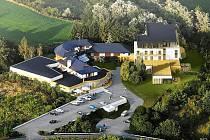 Vizualizace: Nový hotel u Brněnské přehrady nabídne služby i jejím návštěvníkům. Například kyvadlovou dopravu nebo parkoviště pro dvě stě aut.