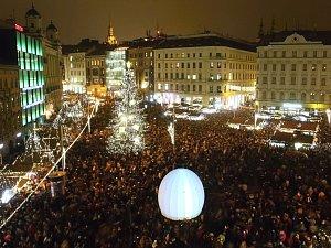 Sněžítko na brněnském náměstí Svobody.