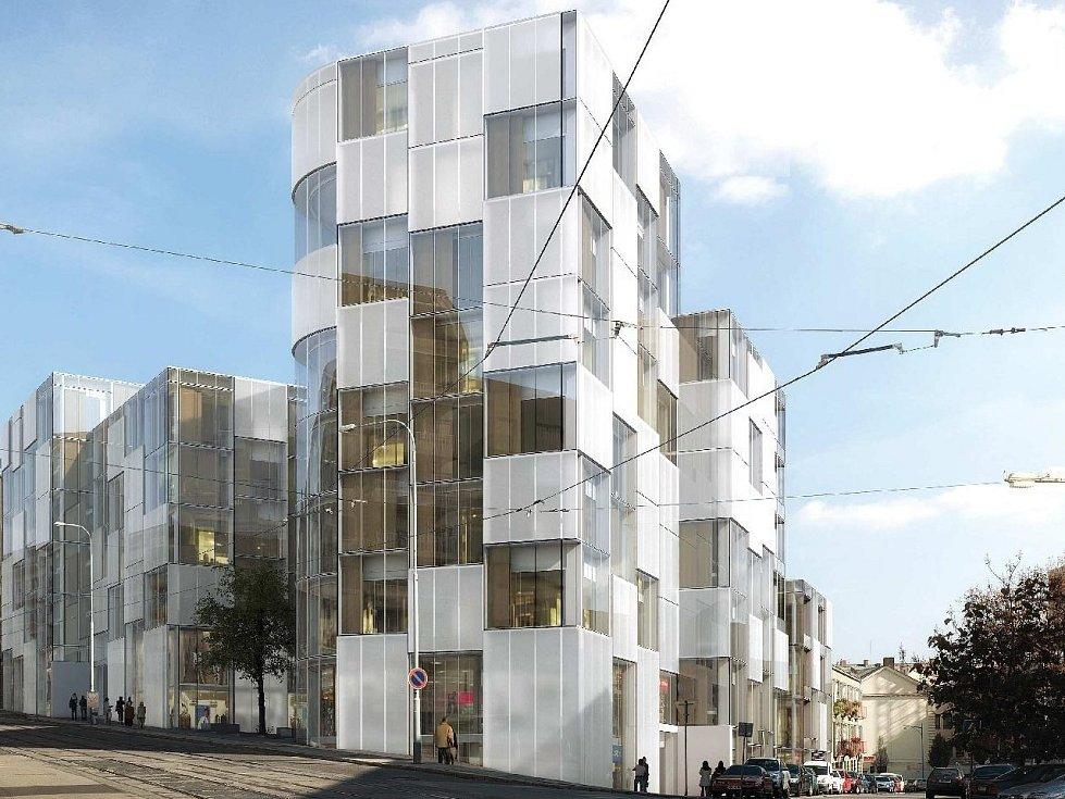 Známé místo na nároží Anenské a Pekařské ulice na vizualizacích dvou možných provedení budoucí stavby bytového domu - v tomto případě od kanceláře EA Architekti.