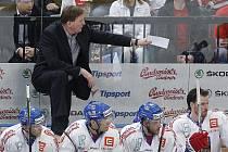Český tým hokejistů na mistrovství světa - trenér Alois Hadamczik.