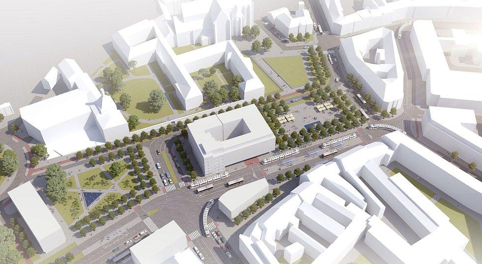 Návrh podoby Mendlova náměstí od architektonického studia Atelier RAW, který se v soutěži umístil na druhém místě.