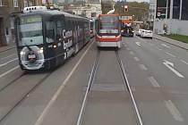 Nevšední pohled se naskytl Brňanům v pátek ráno v Křížové ulici. Na střeše tramvaje linky 5 se vezla labuť.