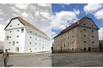 Nový a starý pohled na barokní sýpku v Sokolnicích.