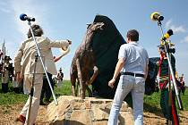 Odhalení pomníku vzpínajícího se koně u Staré Pošty.