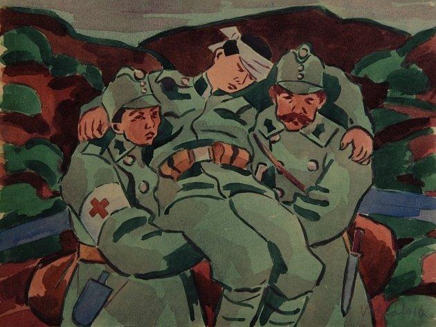 Samaritáni. Akvarel na papíře autora Václava Špály.