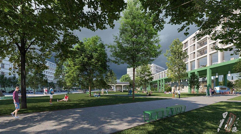 Vizualizace lokality u Grandu blízko brněnského hlavního nádraží.