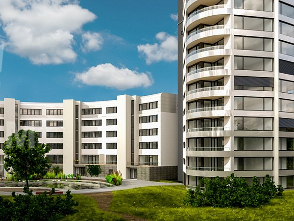 Vizualizace komplexu tří bytových domů vbohunických Netroufalkách.
