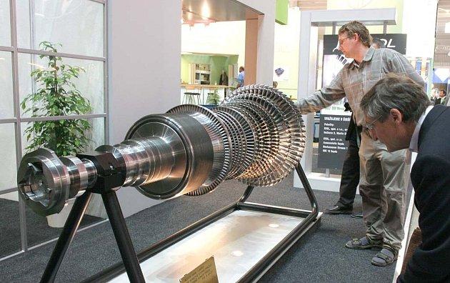 Rotor parní turbíny.