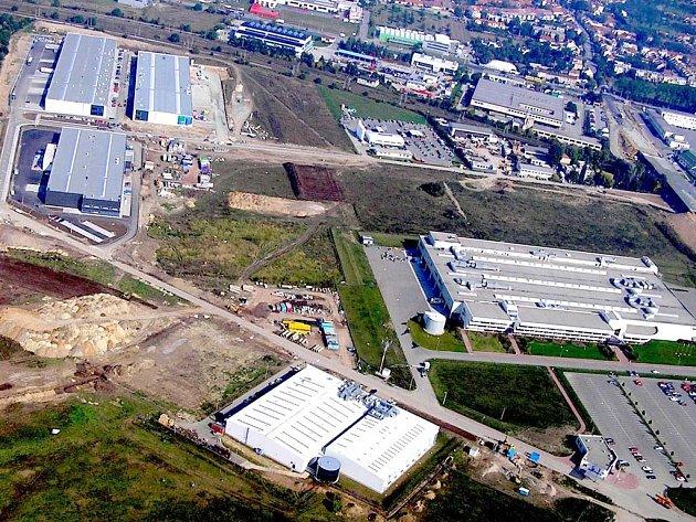 Černovické terasy - letecký snímek.