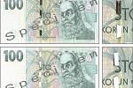Pravé bankovky 100 Kč s částečně a zcela odstraněným ochranným proužkem.