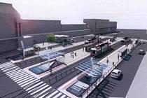 Vizualizace prostoru před hlavním vlakovým nádražím.