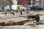 Některé z nálezů, které zatím objevili archeologové při vykopávkách na rekonstruovaném Zelném trhu.