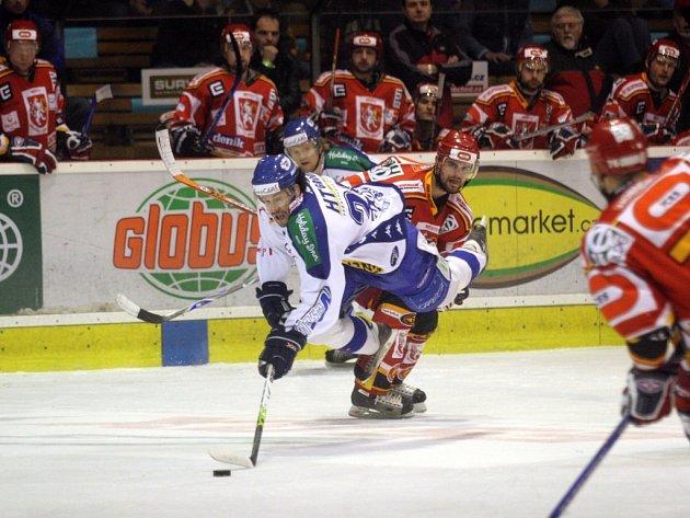 Druhý zápas prvního kola play off 1.ligy mezi HC Kometa Brno a HC VCES Hradec Králové.