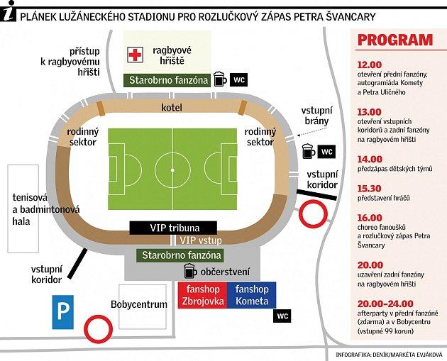 Plánek lužáneckého stadionu pro rozlučkový zápas Petra Švancary.