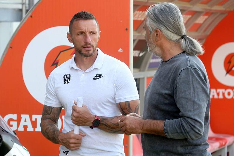 Focení fotbalové Zbrojovky Brno - trenér Pavel Šustr a majitel Václav Bartoněk.