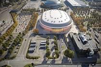 Nová multifunkční Arena Brno z pohledu od Anthroposu.