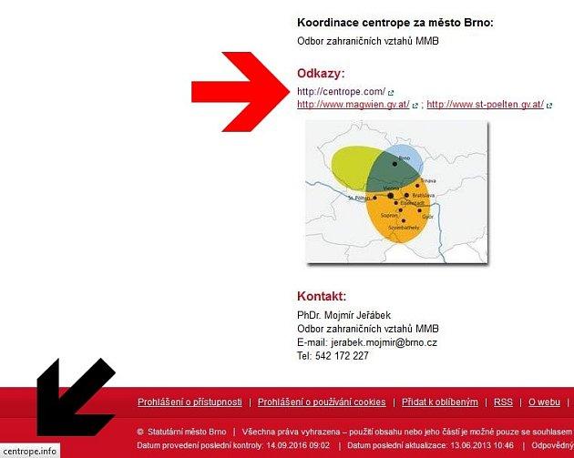 Odkaz na webových stránkách magistrátu sice podle textu odkazoval na správnou stránku www.centrope.com (viz červená šipka), ale po kliknutí na odkaz se člověk dostal na asijské stránky www.centrope.info (viz černá šipka).