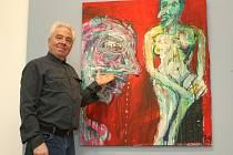 Petr Jedlička vedle obrazu z roku 2010 pojmenovaného Kajícník. Obraz vznikl kombinovanou technikou na látkovém ubruse, přičemž autor využil i děr v textilii. Maloval štětcem i prsty svých rukou, kterými vytvořil výrazné bílé linie.