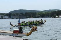 Posádky dračích lodí se utkaly na brněnské přehradě.