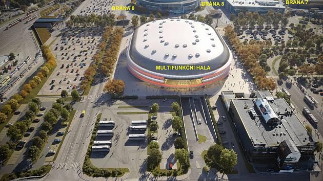 Plánovaná multifunkční hala v Brně