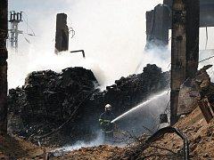 Při požáru briket byla nutná pomoc požární plošiny. Duben 2007.