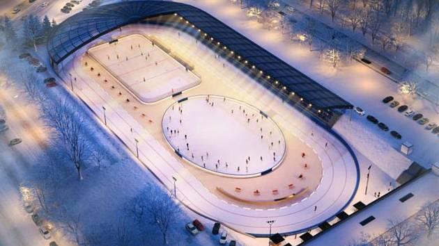 Vizualizace chystaného multifunkčního sportoviště za Lužánkami v Brně a jeho využití v zimním období.