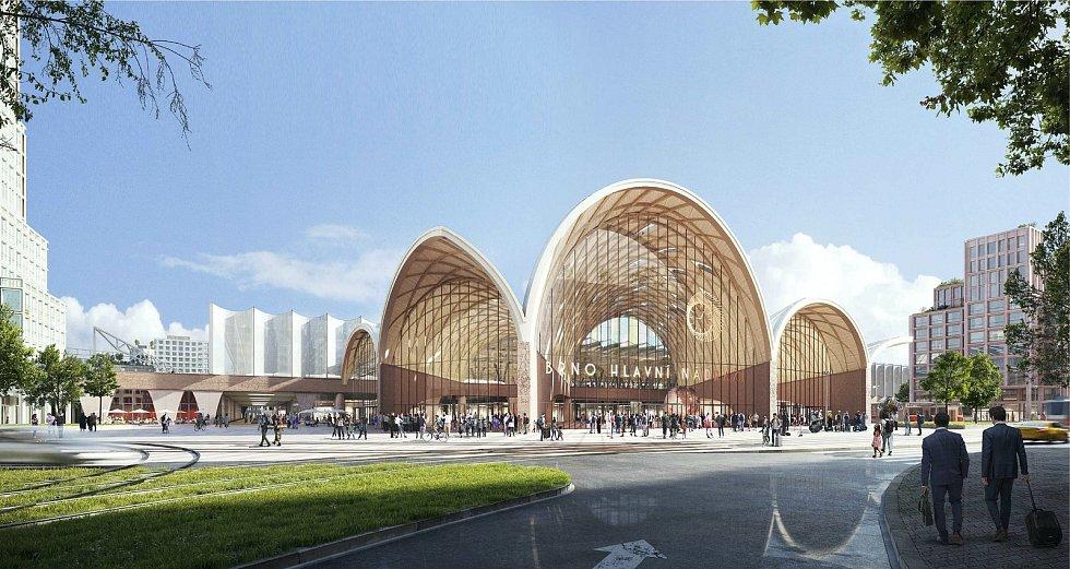 Vítězný návrh architektonické soutěže na podobu nového hlavního vlakového nádraží v Brně. Nádraží by se mohlo jmenovat Zastávka Brno - Šalingrad.